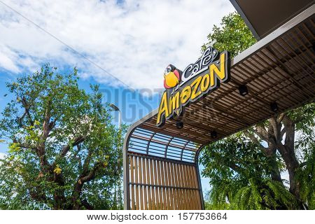 Chanthaburi Thailand - November 13 2016: Cafe Amazon logo sign. Thai frachise coffee in Thailand located in PTT gas station
