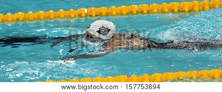 Hong Kong China - Oct 29 2016. Hungarian Olympic world and European champion swimmer Katinka Hosszu swimming breaststroke. FINA Swimming World Cup Preliminary Heats Victoria Park Swimming Pool.