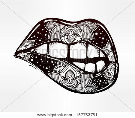 Sexy biting lips. Pop art print in tattoo style. 1990s inspired art. Lips have paisley inside, Indian ornament, damask style. Boho art, design for fabric, papper, tattoo. Isolated vector illustration.