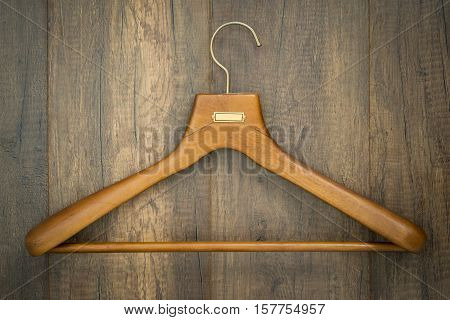 Coat Hanger On Wood Board Laundry Shop Business Concept.