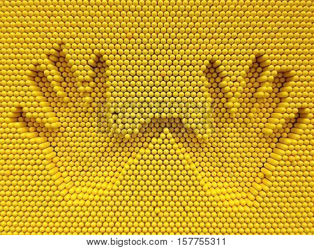 Two hand print on the yellow pins toy background, playground equipment board for print hand