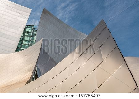 LOS ANGELES, CALIFORNIA - JUNE 5, 2016:  Architectural detail of the landmark Disney Concert Hall, home of the Los Angeles Philharmonic orchestra and the Los Angeles Master Chorale.
