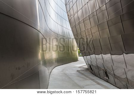 LOS ANGELES, CALIFORNIA - JUNE 5, 2016:  Architectural detail of the landmark Disney Concert Hall, the home of the Los Angeles Philharmonic orchestra.