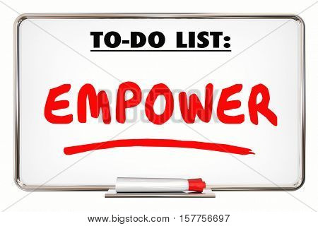 Empower. Allow. Permit. Entrust. Writing Word 3d Illustration