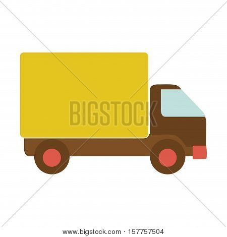 transport truck with yellow wagon and wheels vector illustration