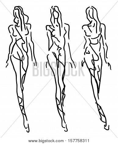 Sketch Fashion Stylized Women  - in summer style