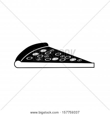 silhouette monochrome with pizza portion vector illustration