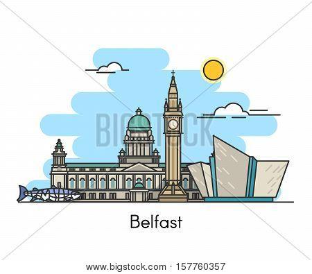 Skyline panorama of Belfast. Belfast, Northern Ireland, United Kingdom