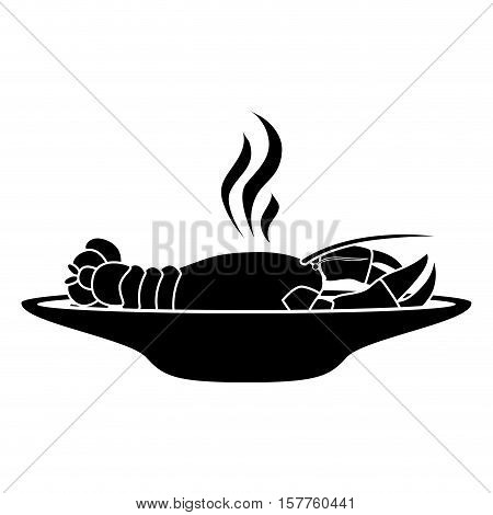 silhouette monochrome dish with hot lobster vector illustration
