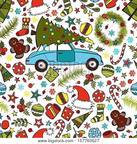 Car and Christmas tree. Hat of Santa Claus and Christmas balls. Branch of mistletoe. Christmas sweets. Stars, snowflakes, Christmas decorations. Seamless vector pattern (background).