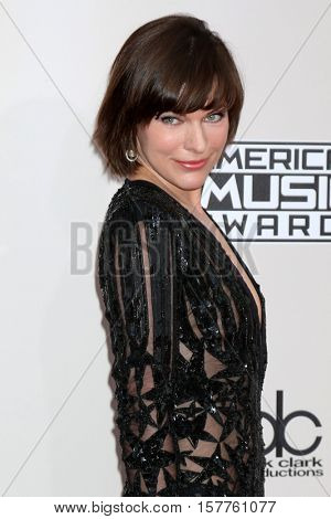 LOS ANGELES - NOV 20:  Milla Jovovich at the 2016 American Music Awards at Microsoft Theater on November 20, 2016 in Los Angeles, CA