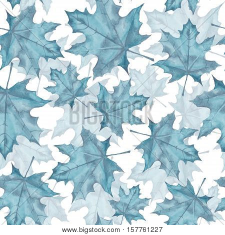 Maple leaves. Watercolor painting. Seamless pattern. Background 9