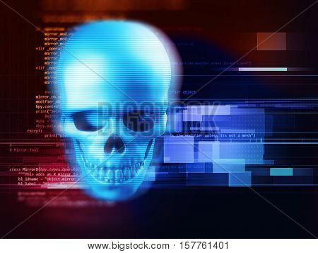 3D Rendering Of Skull On Technology Background