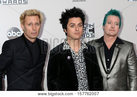 LOS ANGELES - NOV 20:  Mike Dirnt, Billie Joe Armstrong, Tr? Cool, Green Day at the 2016 American Music Awards at Microsoft Theater on November 20, 2016 in Los Angeles, CA