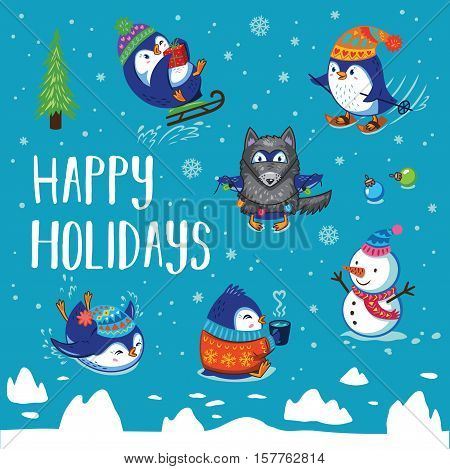 Happy Holidays penguins illustration. Greeting card. Winter concept background with cartoon penguins ice-skating, sledding, skiing, drink tea and dressed in a wolf costume.