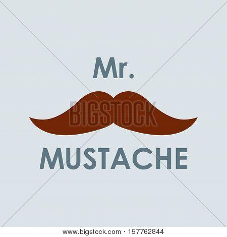 Mustache icon. Mr. Moustache design element. Colorful vector illustration.