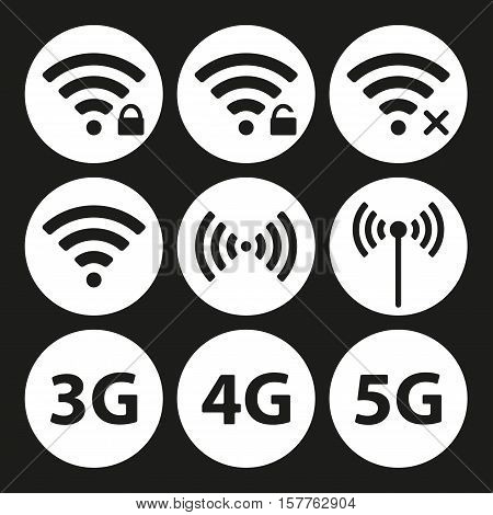 Wifi and wireless icon set for remote internet access. Podcast vector symbols. 3G, 4G and 5G technology signs. Vector illustration.