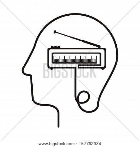 black silhouette head with tape recorder vector illustration