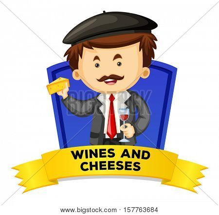 Label design with wines and cheeses illustration