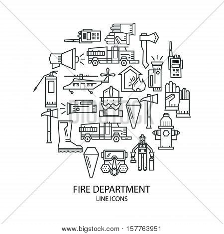 Set of linear icons on fire safety. Fire, fire extinguisher. Icons are placed in the shape of circle.