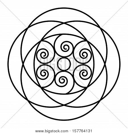 Simple mandala flower design for coloring book pages. Doodle floral pattern in bold print. Easy mandala coloring page for beginners.