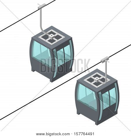 Funicular Cable Railway Ropeway for Winter Tourism Isometric View. Vector illustration