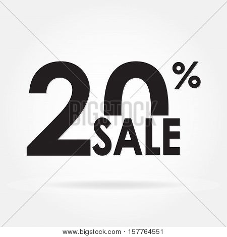Sale 20% and discount price sign or icon. Sales design template. Shopping and low price symbol. Vector illustration.