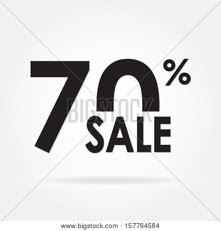 Sale 70% and discount price sign or icon. Sales design template. Shopping and low price symbol. Vector illustration.