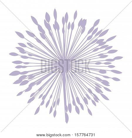 pastel violet silhouette dandelion with pistils vector illustration