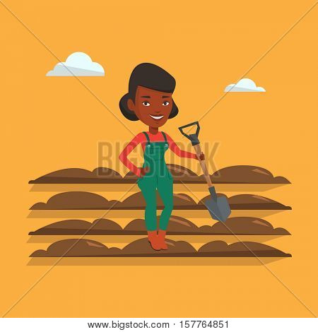 An african farmer standing with shovel on the background of plowed field. Farmer using shovel for plowing a field. Man holding shovel on plowed field. Vector flat design illustration. Square layout.