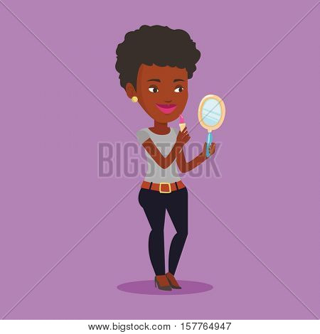 African-american woman doing makeup and looking in hand-mirror. Woman rouge lips with lipstick. Young woman paints her lips. Woman applying lips makeup. Vector flat design illustration. Square layout