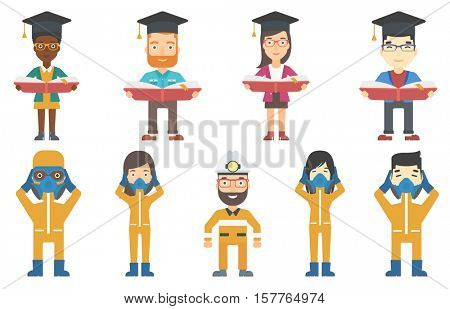 Graduate standing with a big open book in hands. Smiling graduate in graduation cap reading a big book. Concept of education. Set of vector flat design illustrations isolated on white background.