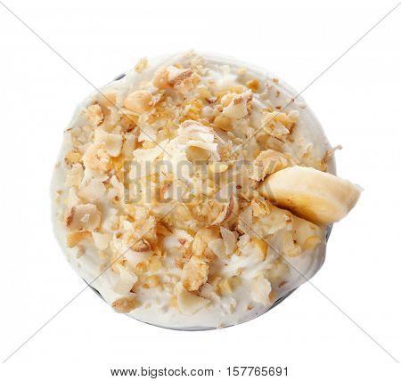 Milk shake with banana on white background