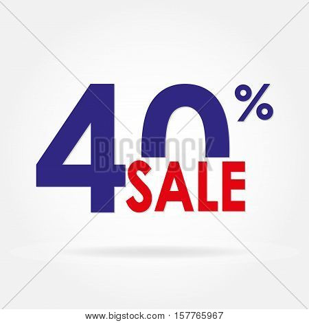 Sale 40% and discount price sign or icon. Sales design template. Shopping and low price symbol. Colorful vector illustration.