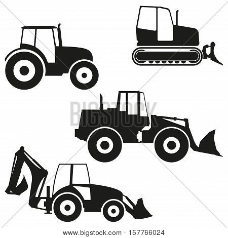 Tractor icon set isolated on white background. Tractor grader, bulldozer silhouette. Vector illustration.