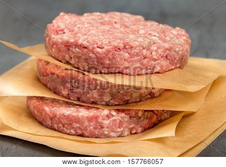 Raw ground beef meat cutlets close up.