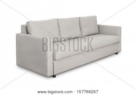 Three seats cozy grey sofa isolated on white