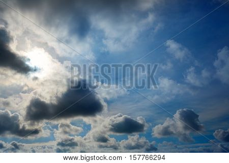 Dramatic blue sky with gray clouds background