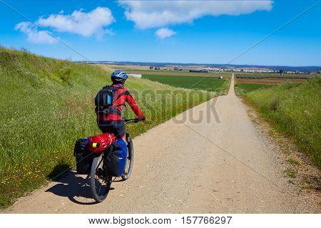 Biker at Via de la Plata way in Andalusia Spain to Santiago compostela