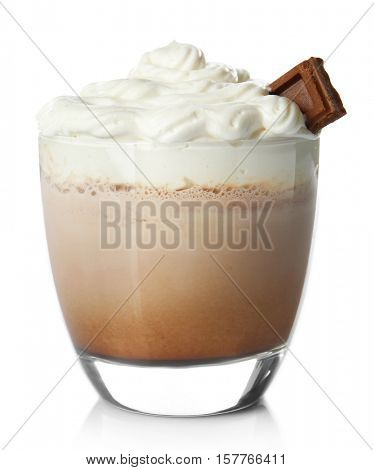 Chocolate milk shake on white background
