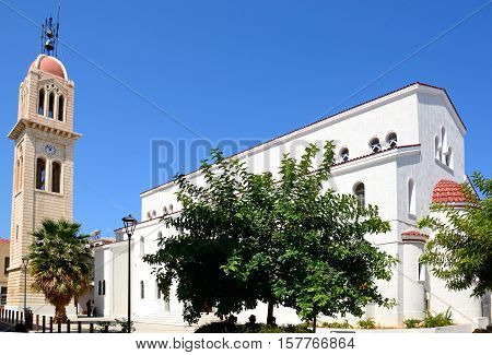 View of the cathedral (Megalos Antonios church) and bell tower Rethymno Crete Greece Europe.