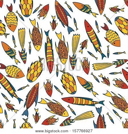 Seamless pattern with small different fishes in a chaotic manner on white background. Handmade cartoon style