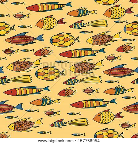 Seamless pattern with shoal of small different fishes on yellow background. Handmade cartoon style
