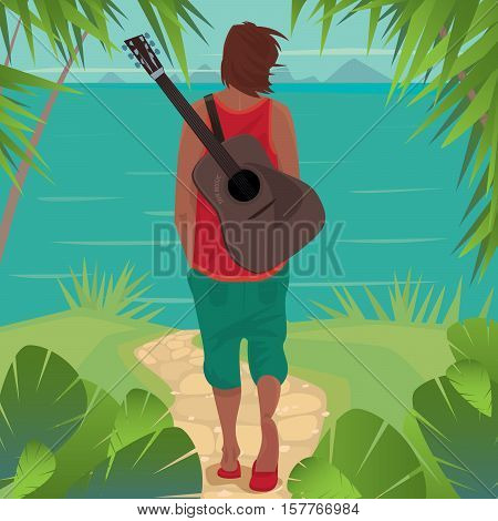 Young man with disheveled hair and guitar behind his back walking along a footpath to the sea. Back view. Seclusion or romantic concept
