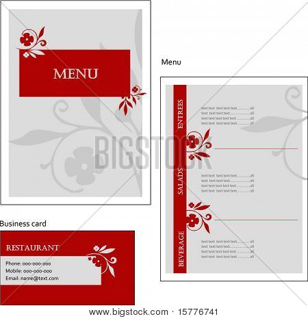 Template designs of European menu and business card for coffee shop and restaurant, vector file include