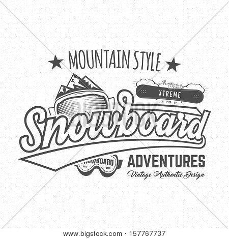 Winter snowboard sports label, t-shirt. Vintage mountain style shirt design. Outdoor adventure typography and snowboarding graphic tee. Hipster monochrome insignia. clothing apparel.