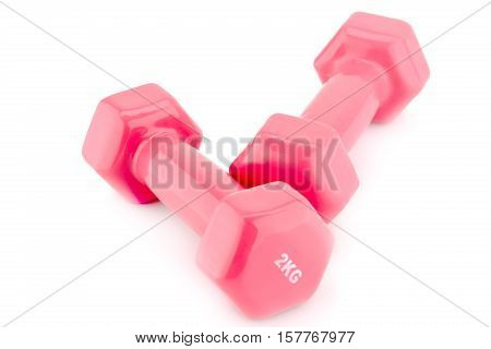 Two plastic coated dumbells isolated on white background.