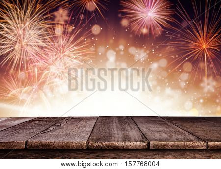 Abstract colored firework background with old wooden planks, ideal for product placement