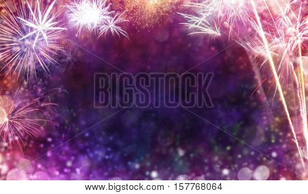 Abstract colored firework background with free space for text