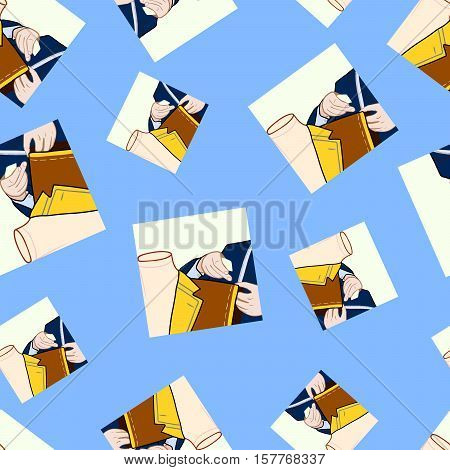 Taylor sews clothes tailor and dummy pattern vector